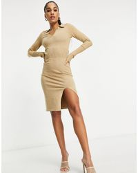 4th & Reckless Бежевое Трикотажное Платье-джемпер С Глубоким Вырезом И Воротником -коричневый Цвет