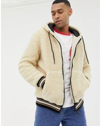 Bershka - Hooded Fleece Bomber Jacket In Sand - Lyst