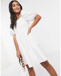 Mango Shirred Top Volume Sleeve Mini Dress - White