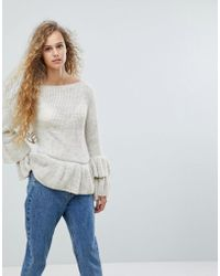 Love Frill Sleeve Sweater - Multicolour
