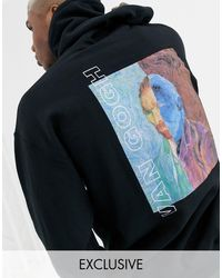Reclaimed (vintage) Oversized Hoodie With Van Gogh Print - Black