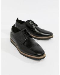 ASOS Chaussures richelieu en cuir avec semelle compensée - Noir