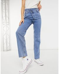 New Look Asymmetric Button Detail Straight Leg Jean - Blue