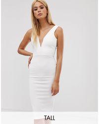 Missguided Vestido midi ajustado con escote pronunciado - Blanco