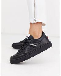 Ellesse Vinitziana Leather Lace Up Trainer - Black