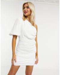John Zack One Shoulder Puff Sleeve Mini Shift Dress - White