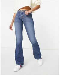 TOPSHOP Flare Jeans Met Lage Taille - Blauw