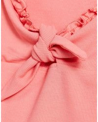 NA-KD X Pamela Recycled Ribbed Front Tie Singlet - Pink