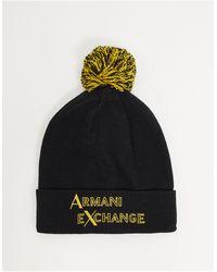 Armani Exchange Черно-желтая Шапка-бини С Помпоном И Логотипом -черный