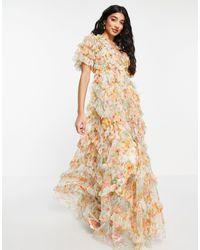 Needle & Thread Платье Макси С Оборками И Разноцветным Цветочным Принтом Sunset Garden-голубой - Синий