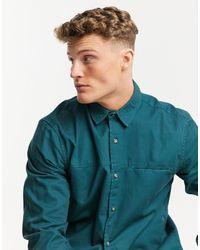 TOPMAN Twill Slim Shirt - Green