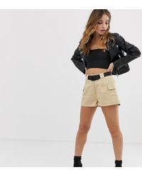 Missguided Utiity Shorts With Pocket Detailing In Camel - Natural