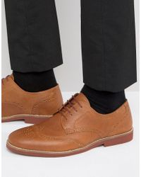 Red Tape Brogues In Tan Milled Leather - Brown