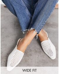 London Rebel Wide Fit Woven Mule Shoes - White