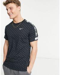 Nike - Черная Футболка С Фирменной Тесьмой Repeat Pack-черный Цвет - Lyst