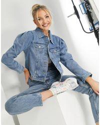 Urban Bliss – Jeansjacke mit Puffärmeln - Blau