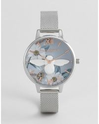 Olivia Burton - Ob16bf18 Bejewelled Floral Mesh Watch In Silver - Lyst