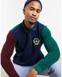 adidas Originals Long-sleeved Polo Top With Collegiate Crest - Blue