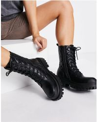 Public Desire Outstanding Chunky Flat Ankle Boots - Black
