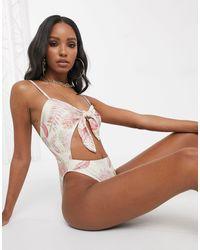 UNIQUE21 Vintage Floral Tie Front Swimsuit - Brown