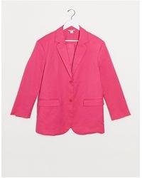 Monki Grace Satin Blazer - Pink
