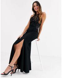 Lipsy Lace Top High Neck Maxi Dress - Black