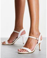 Truffle Collection Sandales minimalistes à talon mi-haut - Blanc