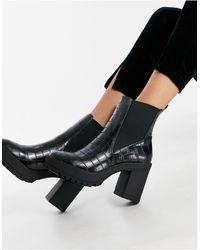 London Rebel Platform Chelsea Boots - Black