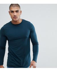 ASOS - Tall Longline Long Sleevet-shirt With Crew Neck In Green - Lyst