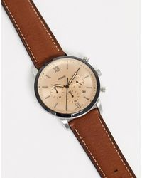 Fossil Fs5627 Neutra - Horloge Met Leren Bandje En Chronometer - Bruin