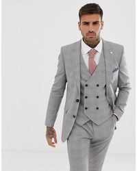 Burton Skinny Fit Suit Jacket In Grey Check - Natural