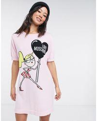 Love Moschino - Розовое Платье-джемпер С Принтом -розовый Цвет - Lyst