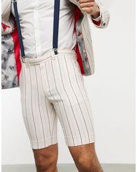 Twisted Tailor . Pantaloncini da abito skinny color crema con righe - Bianco