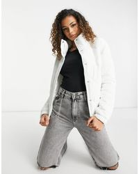 Brave Soul Diamond Quilted Puffer Jacket - White