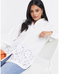 River Island Cutwork Broderie Shirt - White