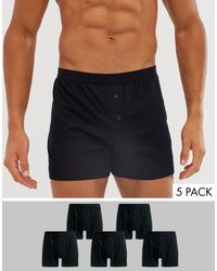 ASOS 5 Pack Jersey Boxers Black Save