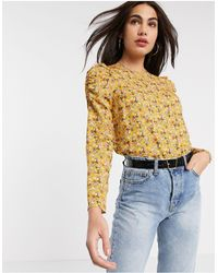 Warehouse Ditsy Floral Puff Sleeve Top - Yellow