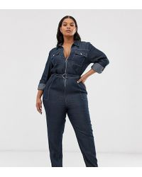 Simply Be Denim Boilersuit In Blue