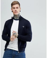 Fred Perry - Cotton Zip Through Cardigan In Navy - Lyst