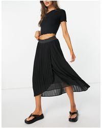 Vila - Pleated Midi Wrap Skirt - Lyst