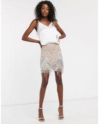 ASOS Embellished Fringed Mini Skirt-beige - Natural