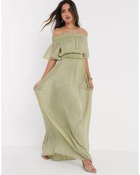 ASOS Bardot Shirred Maxi Dress - Green