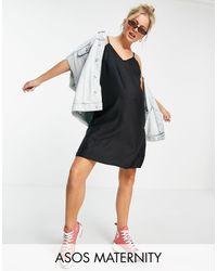 ASOS - Черное Платье-комбинация Мини С V-образным Вырезом - Lyst