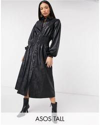 ASOS Vestido camisero midi negro con cintura fruncida