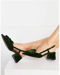 ASOS Зеленые Бархатные Туфли На Среднем Каблуке С Бантом - Зеленый