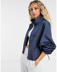 Vila Funnel Neck Zip-up Jacket - Blue