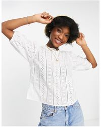 Abercrombie & Fitch Puff Sleeve Top - White