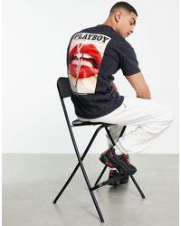 Mennace X Playboy - T-shirt avec imprimé photo au dos - délavé - Noir