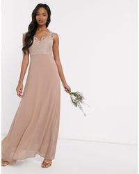 TFNC London Платье С Кружевным Лифом -коричневый