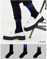 ASOS 3 Pack Ankle Sock With Glitter Ombre Design Save - Black